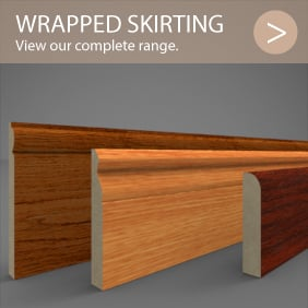 Foil wrapped MDF skirting board lengths in a variety of prints and sizes