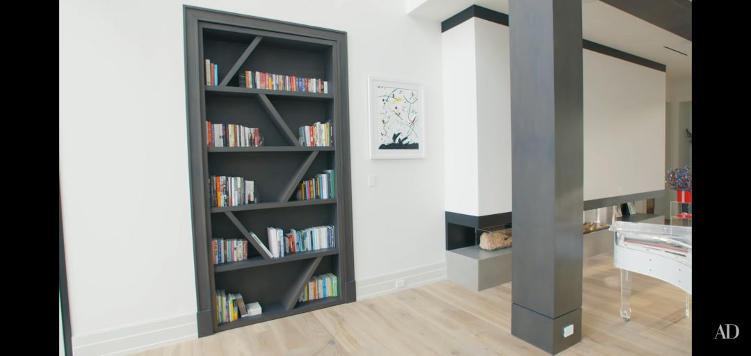 Serena Williams home - skirting board fits flush with bookcase