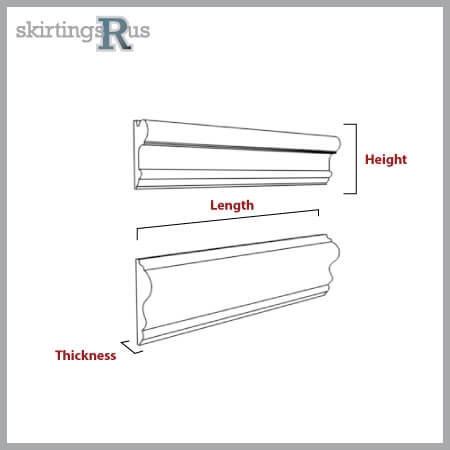 Diagram outlining the length, thickness and height dimensions of dado and picture rails.