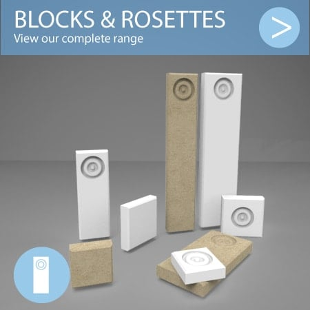 Plinth block and rosette range button showing a selection of each